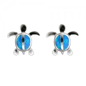 Hawaiian Honu Turtle Blue Opal Silver Stud Earrings