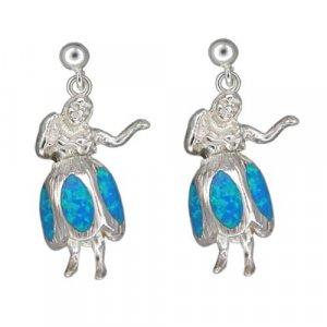 Hawaiian Hula Girl Blue Opal Silver Stud Earrings
