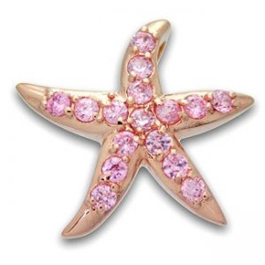 Hawaiian Jewelry Starfish Silver Pink CZ Stone Pendant