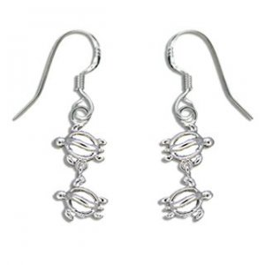 Hawaiian Jewelry Honu Turtle Sterling Silver Earrings