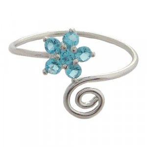 Hawaiian Jewelry Silver Blue Plumeria Flower CZ Toe Ring