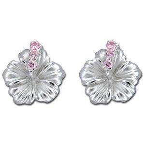 Hawaiian Hibiscus Flower Silver Stud Pink CZ Earrings