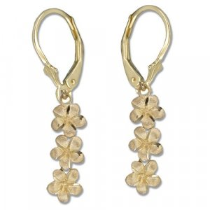 3 Dangling Plumeria Flower 14K Yellow Gold Lever Back Earrings