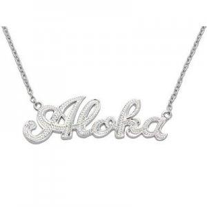 Hawaiian Jewelry Sterling Silver Aloha Pendant