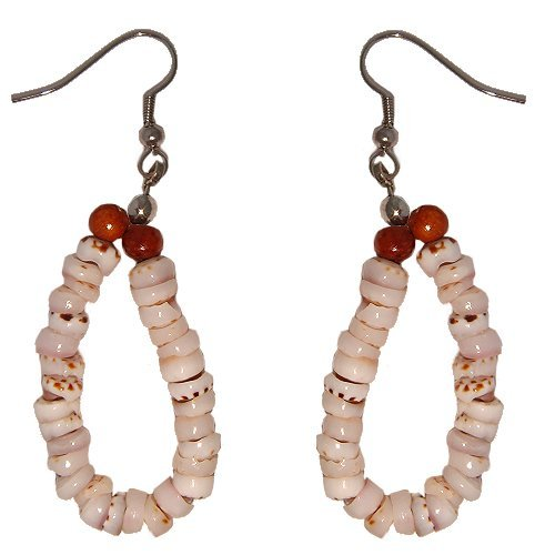Hawaiian Tiger Puka Shell Hoop Earrings
