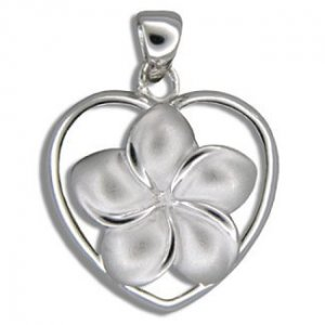 Hawaiian Jewelry Small Silver Plumeria Flower Heart Pendant
