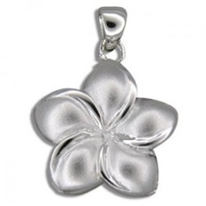 Hawaiian Jewelry Small Sterling Silver Plumeria Flower Pendant
