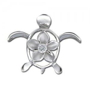 Hawaiian Jewelry Silver Turtle Plumeria Flower CZ Pendant