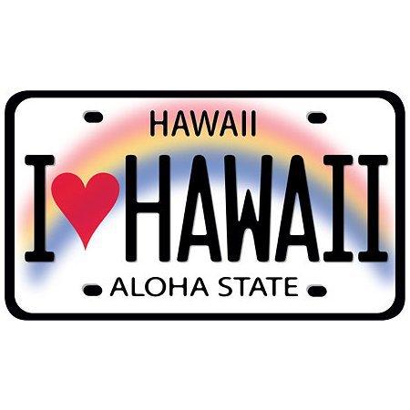 I Love Hawaii License Plate Car Decal Bumper Sticker