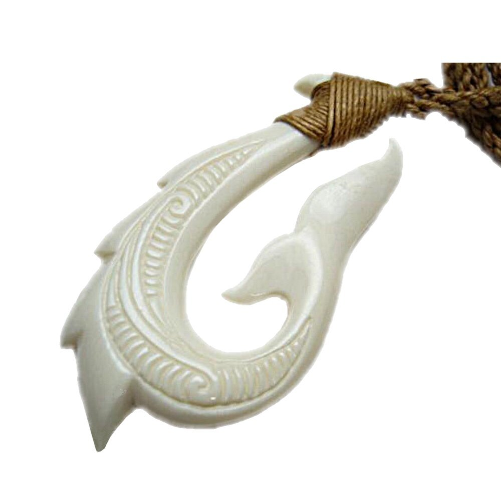 Hawaiian Bone Fish Hook Whale Tail Pendant Necklace