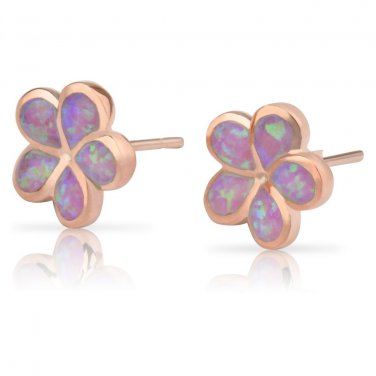 Sterling Silver Synthetic Pink Opal Hawaiian Plumeria Flower Earrings