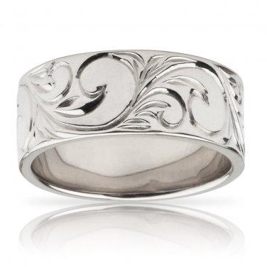 Hawaiian Heirloom Jewelry 14k White Gold Flat Hawaiian Scroll Ring