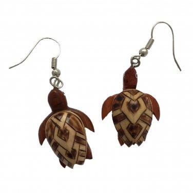 Hawaiian Honu Sea Turtle Wood Hawaii Earrings