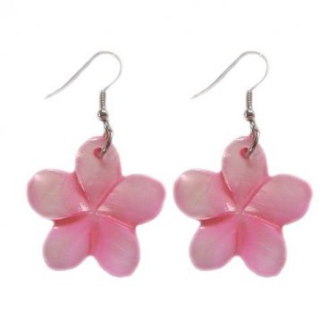 Hawaiian Pink Plumeria Flower Shell Pierce Earrings