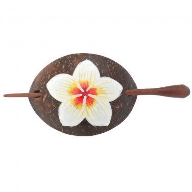 Hawaiian Plumeria Flower Coconut Wood Barrette