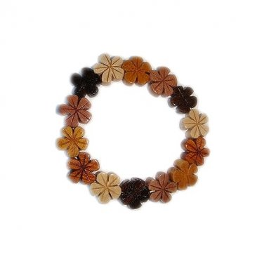 Hawaiian Koa and Mahogany Wood Plumeria Flower Elastic Bracelet