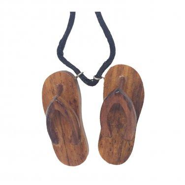 Hawaiian Koa Wood Slipper Necklace Pendant Jewelry