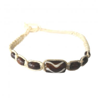 Hawaii Hemp Handmade Bead Bracelet or Anklet with Hawaiian Koa Wood Rice Beads