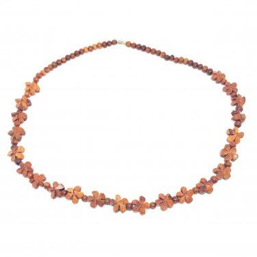 Hawaiian Jewelry Koa Wood Plumeria Flower Hand Carved Necklace from Hawaii