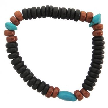 Hawaiian Faux Turquoise Elastic Bracelet with Black and Koa Wood Beads