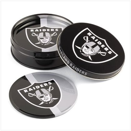 Tin Coaster Set- Oakland Raiders