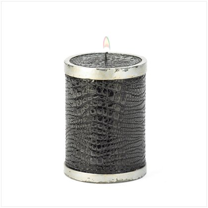 Black Faux Alligator Candle