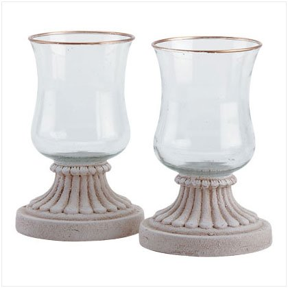 Gold Edged Hurricanes Candle Lamps - Set of 2