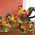 7 Piece Rooster Tea Set