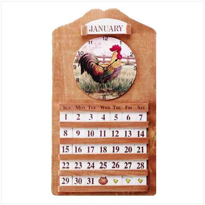 Rooster Calendar and Clock