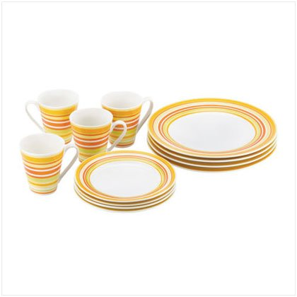 12 Piece Sunburst Stripes Dinnerware
