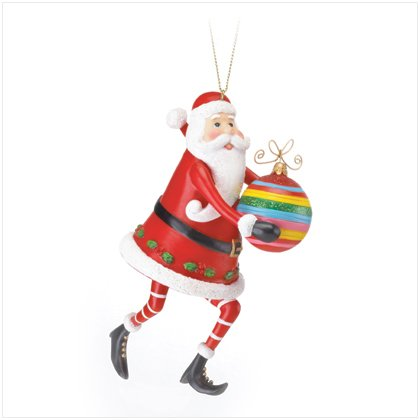Santa With Multi Color Stripe Ornament
