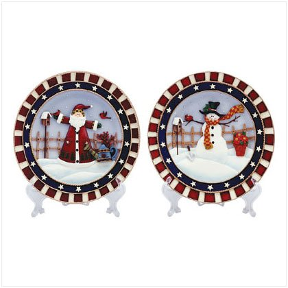 Christmas Plate Set With Display Stands