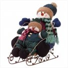 Plush Snowman Kids On Sleigh