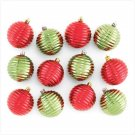 Red & Green Ornaments - Set of 12