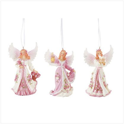 Pink Angel Ornaments - Set of 3