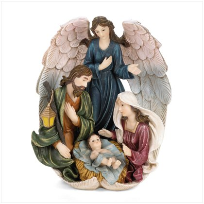 Holy Family With Angel Sculpture