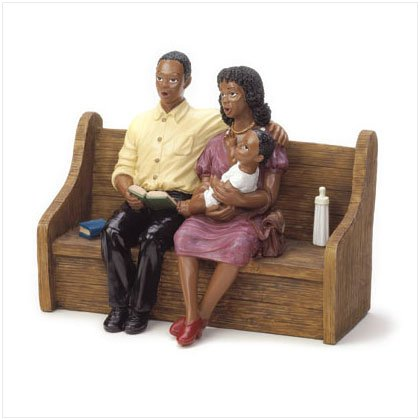 Devout Family On Church Pew Figurine