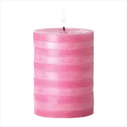 Pink Striped Pillar Candle