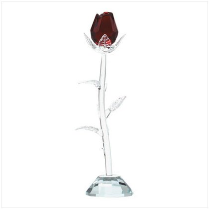 Glass Red Rose with Clear Stem