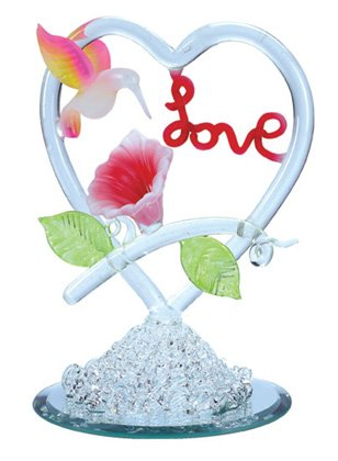 "Spun-Glass Hummingbird with ""Love"""