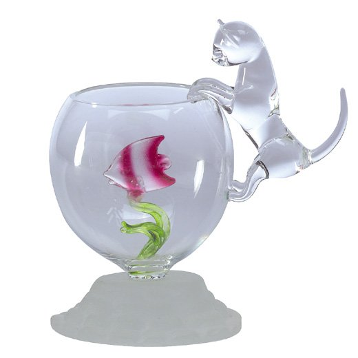 Glass Kitty Cat on Fish Bowl With Fish