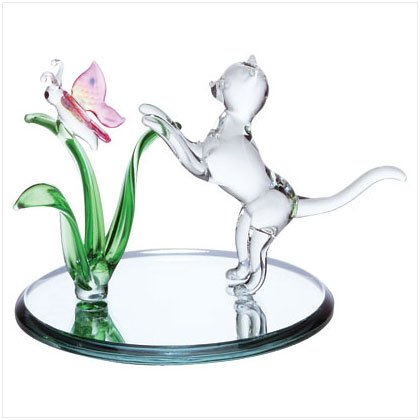 Glass Cat & Butterfly Sculpture