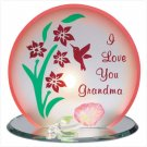 "Glass ""I Love You Grandma"" Candleholder"