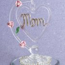 "Spun-Glass Dangling ""MOM"" Heart"