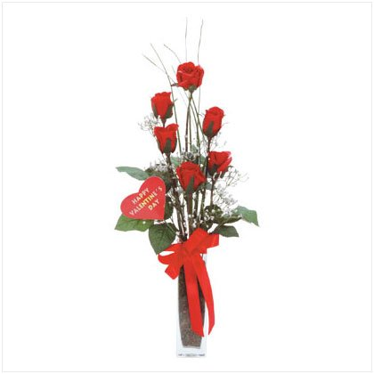 Satin Red Rose Bouquet in Glass Vase