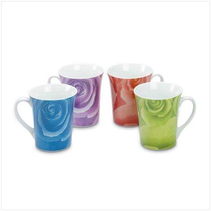 4 Piece Rose Design Mugs