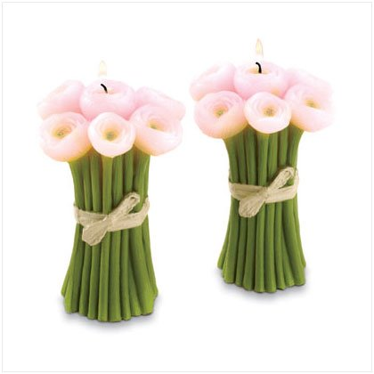 Pink Tulip Candle Bouquets - Set of 2