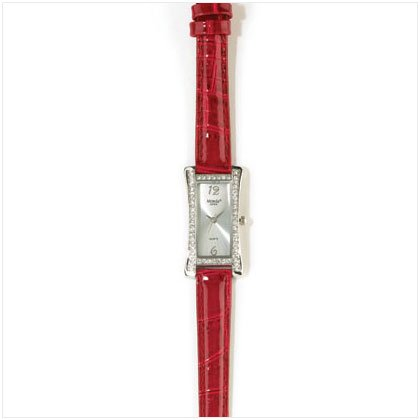 Red Leather Band Silver Plated Watch