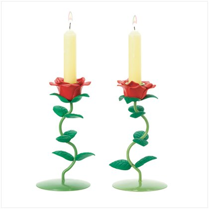 Rose Candleholders - Set of Two (2)