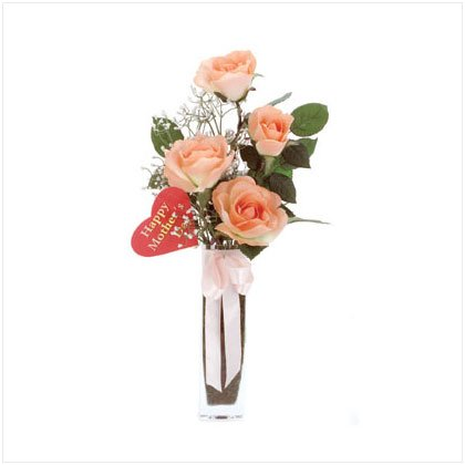 Satin Roses in Glass Vase